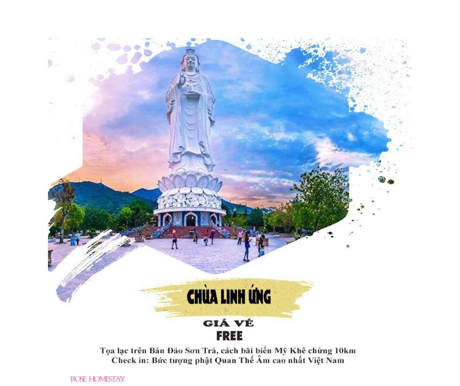 Bức tượng Phật cao nhất Việt Nam, nơi thờ phụng Mẹ Quan Âm, cầu bình yên, mưa thuận gió hòa.
